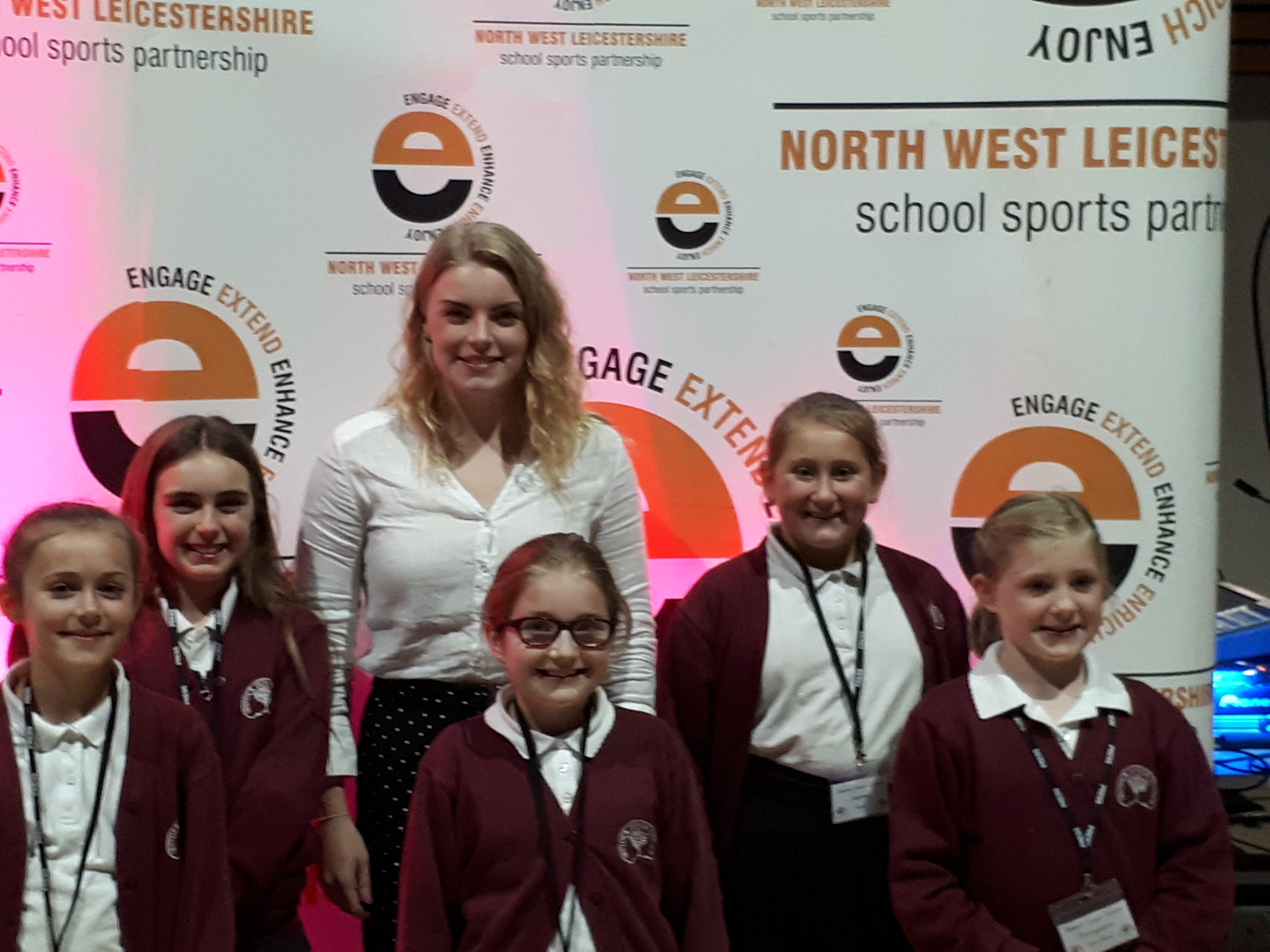 Reporters from Ibstock Junior School with Harriet West